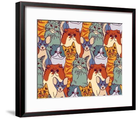 Cats Pets Animal Group Color Seamless Pattern-Karrr-Framed Art Print