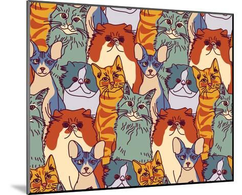 Cats Pets Animal Group Color Seamless Pattern-Karrr-Mounted Art Print