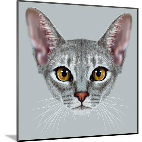 Illustrative Portrait of Abyssinian Cat. Cute Breed of Domestic Short Haired Cat with a Distinctive-ant_art19-Mounted Art Print