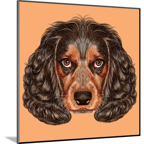 Illustrative Portrait of Spaniel Dog. Cute Young Russian Hunting Spaniel.-ant_art19-Mounted Art Print