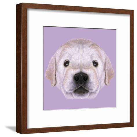 Illustrated Portrait of Golden Retriever Puppy-ant_art19-Framed Art Print