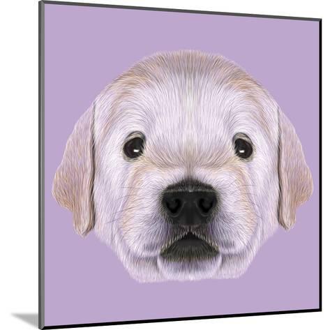 Illustrated Portrait of Golden Retriever Puppy-ant_art19-Mounted Art Print