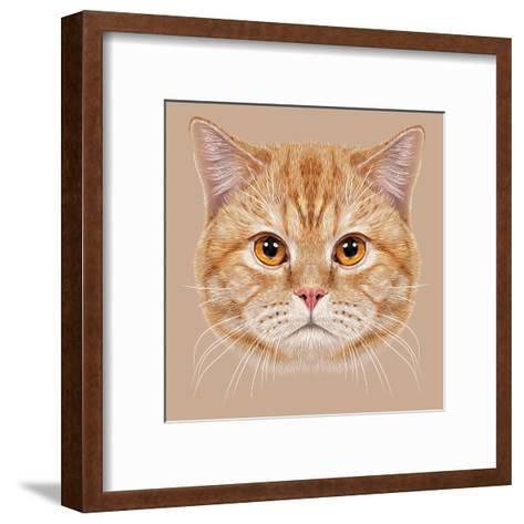 Illustration of Portrait British Short Hair Cat. Cute Orange Domestic Cat with Copper Eyes.-ant_art19-Framed Art Print