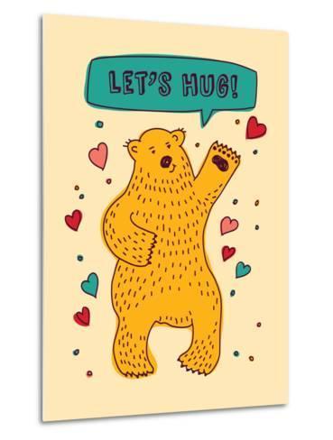 Bear with Sign Lets Hug and Hearts Greeting Card-Karrr-Metal Print