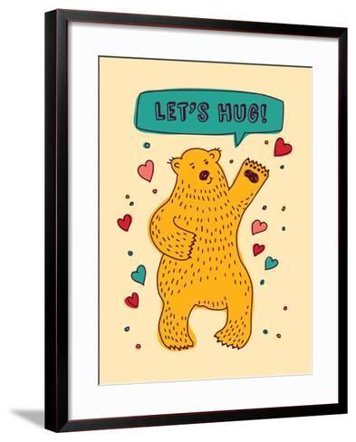 Bear with Sign Lets Hug and Hearts Greeting Card-Karrr-Framed Art Print