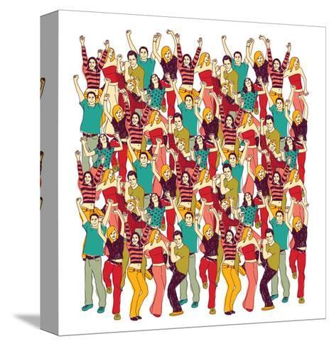 Crowd Happy People Isolate on White-Karrr-Stretched Canvas Print