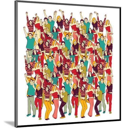 Crowd Happy People Isolate on White-Karrr-Mounted Art Print