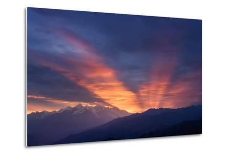 Mountain Landscape at Dawn. Beautiful Sky with Sunbeams and Clouds. View from Mount Mkheer. Zemo Sv-Kotenko-Metal Print