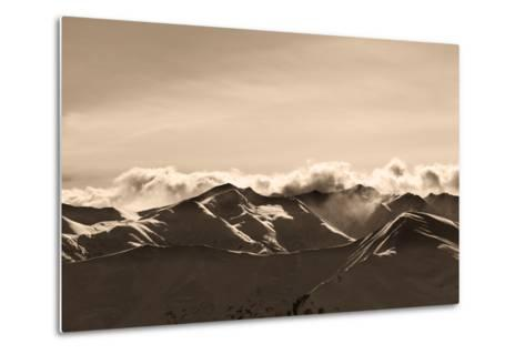 Sepia Evening Winter Mountains and Sunlight Clouds-BSANI-Metal Print