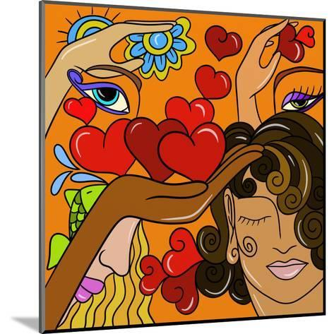 Abstract Hearts and Faces-goccedicolore-Mounted Art Print