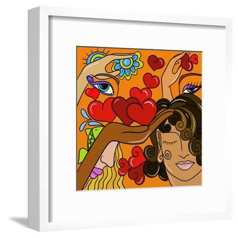 Abstract Hearts and Faces-goccedicolore-Framed Art Print