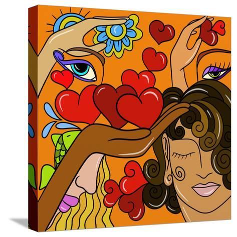 Abstract Hearts and Faces-goccedicolore-Stretched Canvas Print