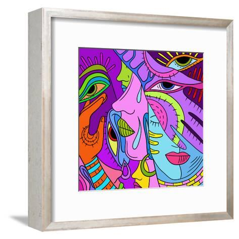 With Abstract Colored Profiles-goccedicolore-Framed Art Print