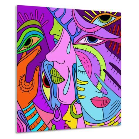 With Abstract Colored Profiles-goccedicolore-Metal Print