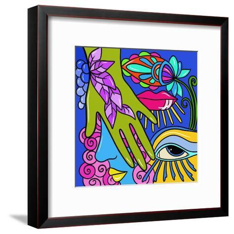 Abstract with Green Hand-goccedicolore-Framed Art Print