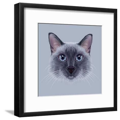 Illustrative Portrait of a Thai Cat. Cute Blue Point Traditional Siamese Cat.-ant_art19-Framed Art Print