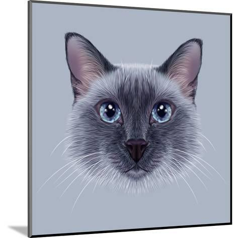 Illustrative Portrait of a Thai Cat. Cute Blue Point Traditional Siamese Cat.-ant_art19-Mounted Art Print