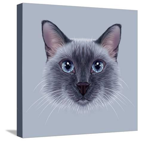 Illustrative Portrait of a Thai Cat. Cute Blue Point Traditional Siamese Cat.-ant_art19-Stretched Canvas Print