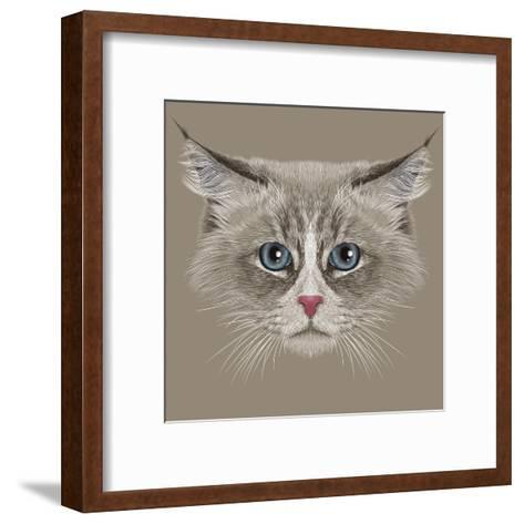 Illustrative Portrait of Siberian Cat. Cute Domestic Colour Point Cat with Blue Eyes.-ant_art19-Framed Art Print