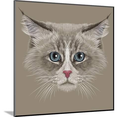 Illustrative Portrait of Siberian Cat. Cute Domestic Colour Point Cat with Blue Eyes.-ant_art19-Mounted Art Print