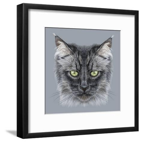 Illustration Portrait of Domestic Cat. Cute Black Cat with Green Eyes.-ant_art19-Framed Art Print