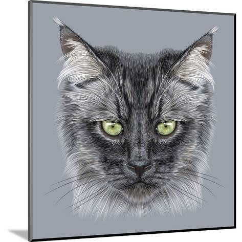 Illustration Portrait of Domestic Cat. Cute Black Cat with Green Eyes.-ant_art19-Mounted Art Print