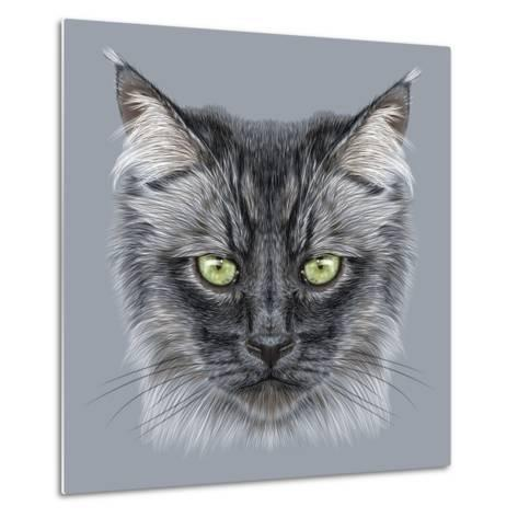 Illustration Portrait of Domestic Cat. Cute Black Cat with Green Eyes.-ant_art19-Metal Print