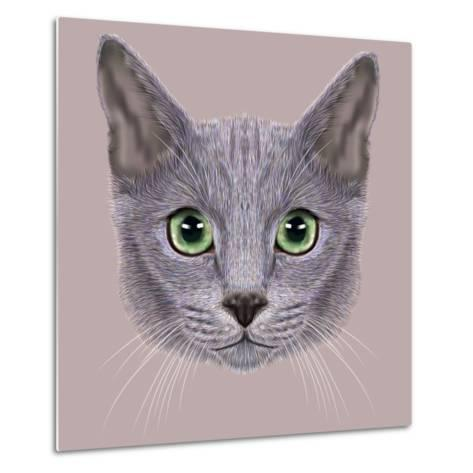 Illustration of Portrait of Russian Blue Cat. Cute Domestic Cat with Green Eyes.-ant_art19-Metal Print