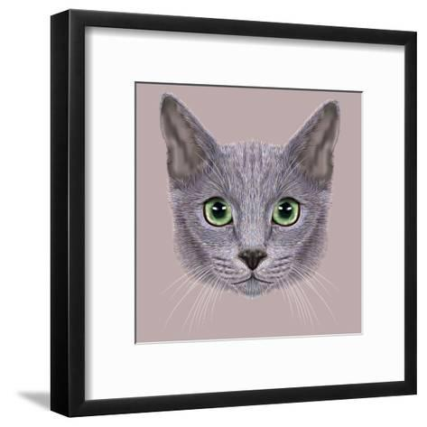 Illustration of Portrait of Russian Blue Cat. Cute Domestic Cat with Green Eyes.-ant_art19-Framed Art Print