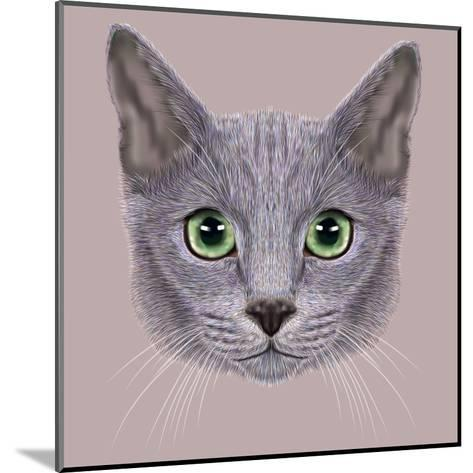 Illustration of Portrait of Russian Blue Cat. Cute Domestic Cat with Green Eyes.-ant_art19-Mounted Art Print