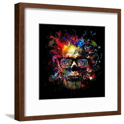 Skull in Glasses-reznik_val-Framed Art Print