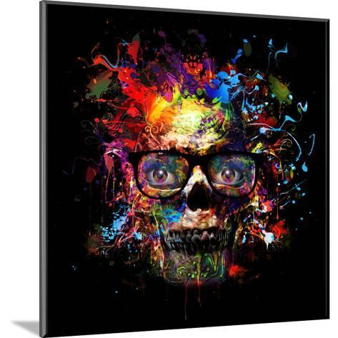 Skull in Glasses-reznik_val-Mounted Art Print