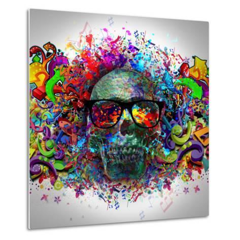 Skull in Glasses-reznik_val-Metal Print