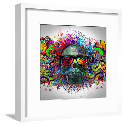Skull in Glasses-reznik_val-Framed Art Print