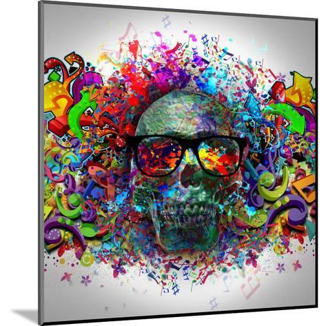 Skull in Glasses-reznik_val-Mounted Art Print