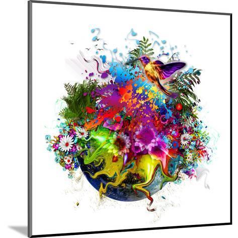 Bird and Flowers-reznik_val-Mounted Art Print