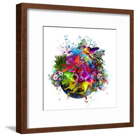 Bird and Flowers-reznik_val-Framed Art Print