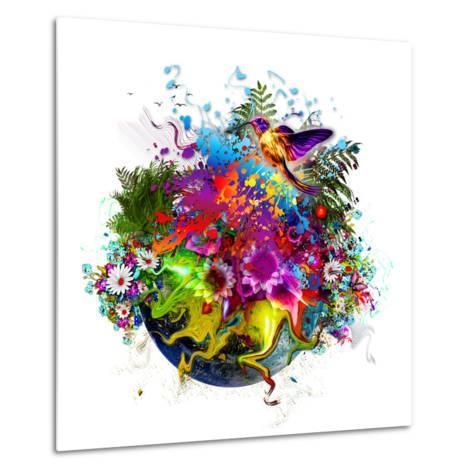 Bird and Flowers-reznik_val-Metal Print