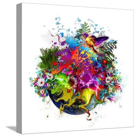 Bird and Flowers-reznik_val-Stretched Canvas Print