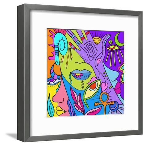 Astratto Colorato Con Mani E Occhi-goccedicolore-Framed Art Print