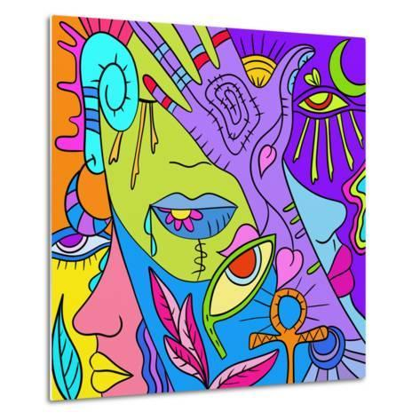 Astratto Colorato Con Mani E Occhi-goccedicolore-Metal Print