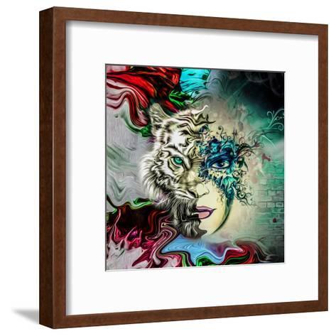 Tiger and Face-reznik_val-Framed Art Print