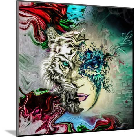 Tiger and Face-reznik_val-Mounted Art Print