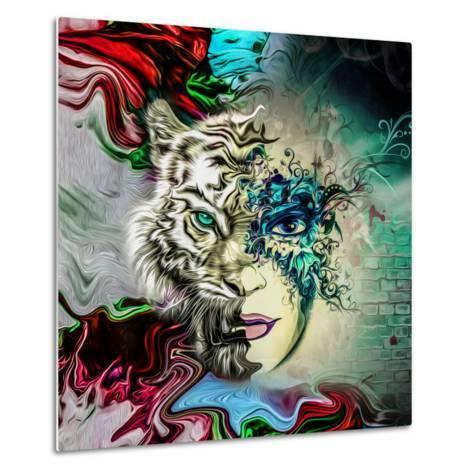 Tiger and Face-reznik_val-Metal Print