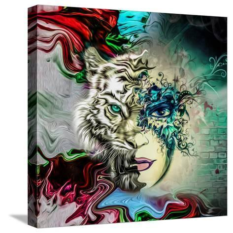 Tiger and Face-reznik_val-Stretched Canvas Print