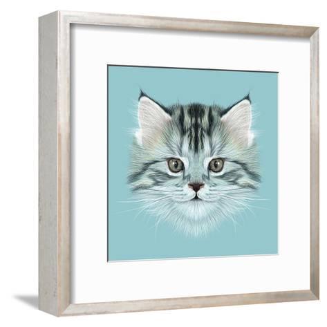 Illustrative Portrait of Domestic Kitten. Cute Grey Tabby Kitten.-ant_art19-Framed Art Print