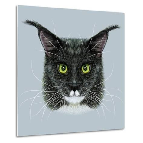 Vector Illustrative Portrait of Maine Coon. Cute Bi-Colour Domestic Cat with Green Eyes.-ant_art19-Metal Print