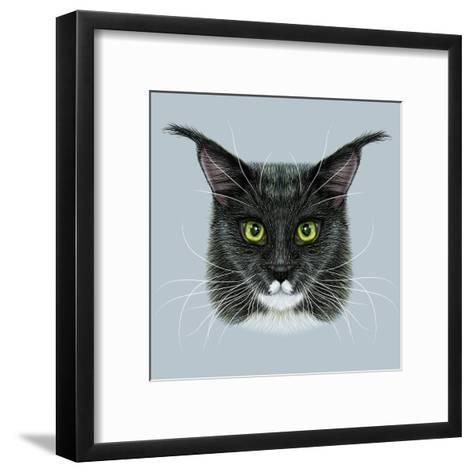 Vector Illustrative Portrait of Maine Coon. Cute Bi-Colour Domestic Cat with Green Eyes.-ant_art19-Framed Art Print