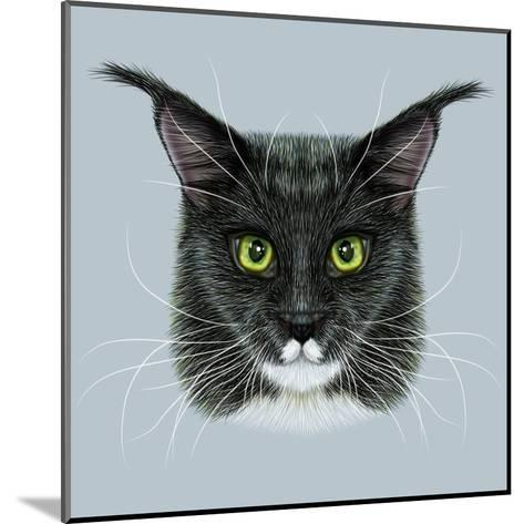 Vector Illustrative Portrait of Maine Coon. Cute Bi-Colour Domestic Cat with Green Eyes.-ant_art19-Mounted Art Print