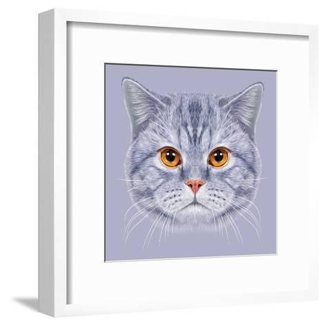 Illustration of Portrait British Short Hair Cat. Cute Grey Tabby Domestic Cat with Orange Eyes.-ant_art19-Framed Art Print